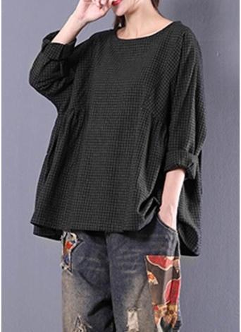 Nouvelles femmes Vintage Plaid Shirt col rond à manches longues en vrac Casual Blouse Tops surdimensionnés