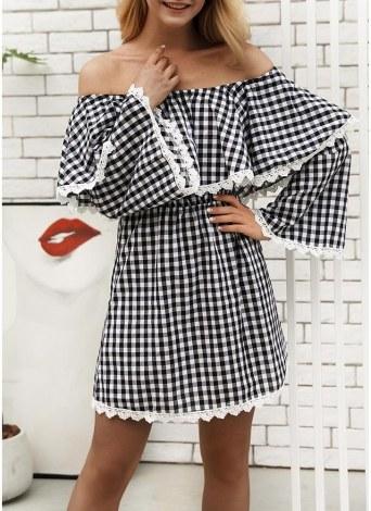 Femmes hors de la robe de l'épaule à carreaux Imprimer cloche manches Slash Neck taille haute volants Mini robe