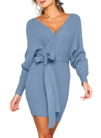 5656a2957a Women Winter Vintage Knitted Dress Elegant Long Sleeve Bandage Backless  Jumper Casual Mini Party Dress