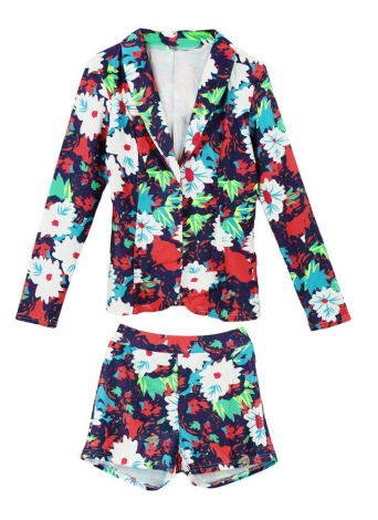 Femmes sexy deux pièces ensemble Floral imprimé manches longues Blazer Casual Hot Pants Shorts Set costume blanc