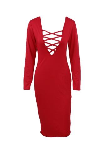 Новая мода женщины платье Плунге V декольте Criss Cross Ремни Передняя с длинным рукавом Bodycon Fit Sexy Midi One-Piece
