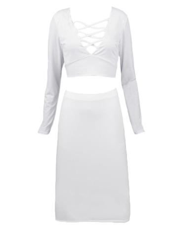 Mulheres sexy vestido duas peças travessia laço longo manga pescoço V profundo no máximo Bodycon Mini mini-saia