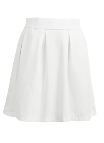 Solid Pleated Exposed Zipper Back Fastening Casual Skirt