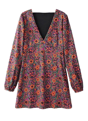 Fashion Retro Floral Print Deep V Neck Lantern Sleeve Casual Dress