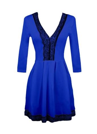 4b85b65b0e9 Lace Pleated Deep V-Neck 3 4Sleeves Skater Dress