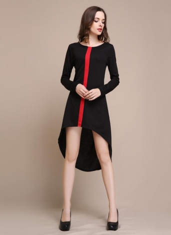 Contrast Vertical Irregular Asymmetrical Long Sleeve Dress