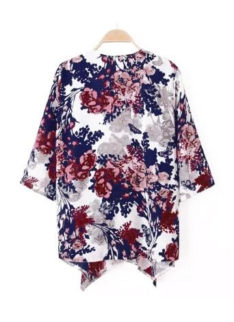 Новый женщин верхняя одежда открытой передней цветочные печати Batwing 3/4 рукав подол нерегулярные тонкие ретро свободные Кардиган пальто синий