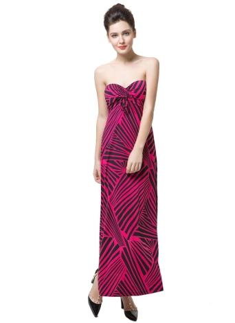 Модная женская полоса с платьем передней части плеча