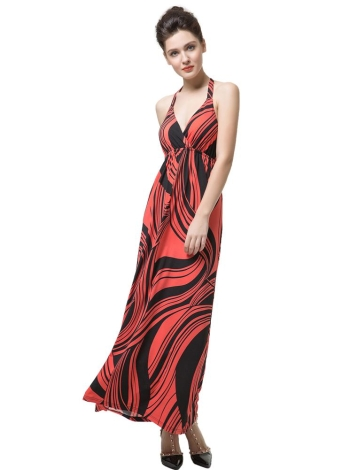 Мода Print Halter Deep V-образным вырезом Крест Backless Slim Sexy Dress