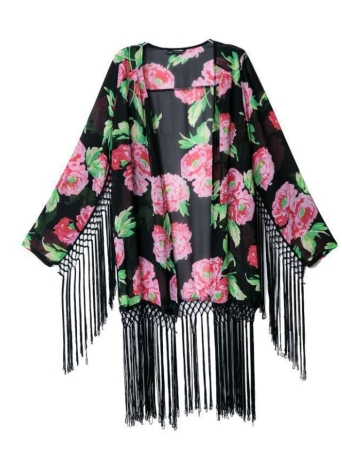 Nova moda mulheres Cardigan do Chiffon Floral impressão Tassel manga longa Casual Outwear preto