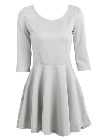 Fashion 3/4 Sleeve Back Zipper Solid Color A-lined Mini Flare Dress