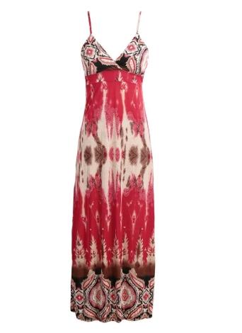 Mode Böhmische Frauen Maxi Kleid Retro Print Spaghetti Riemen gepolstert Strand lange Kleid Rot
