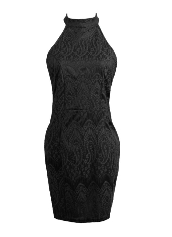 Lace Crochet Backless Halter Solid Bodycon Evening Cocktail Mini Dress