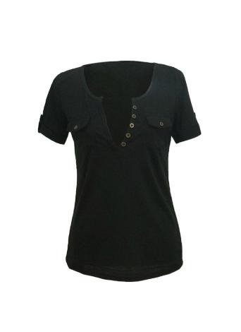 Sexy Deep V-Neck Short Sleeve Button Embellished Slim T-shirt