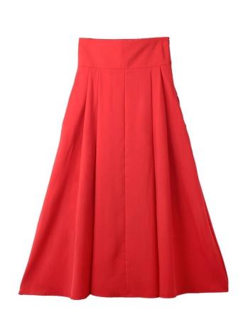 Vintage A-Line Pleated High Waist Side Zipper Pockets Midi Red Skirt