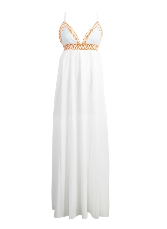 Boho Cross Backless V-Neck Sleeveless Spaghetti Strap White Maxi Dress