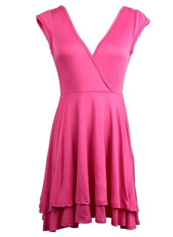Женщин мини-фигурист платье сексуальная коктейльное платье Клубная одежда спинки v-образным вырезом платье без рукавов твердых Роза