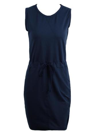 Elle solide crayon Dress Casual O-cou sans manches Bodycon gaine robe gris/Rose/Dark Blue
