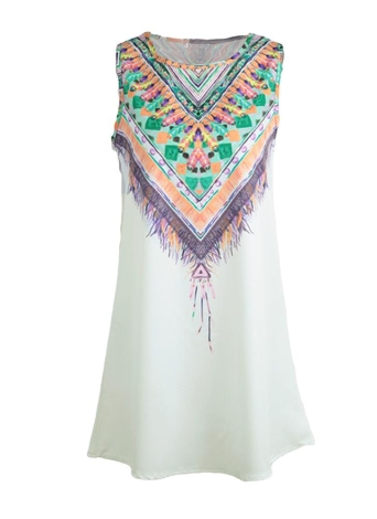Bohemian Geometric Print Color Block Sleeveless Shift Mini Dress