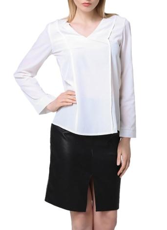 Neue Art und Weise Frauen-Bluse mit V-Ausschnitt mit langen Ärmeln Rüschen besetztes Zurück asymmetrischem Saum Feminine Tops Weiß