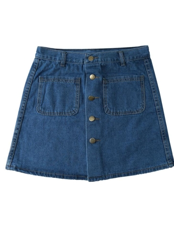 Fashion Front Button Closure Pockets Design Denim Mini Skirt