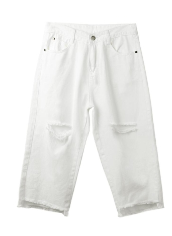 Frauen Distressed Zerrissene Jeans Boyfriend Jeans geerntete Hose Mid Aufstieg Jeans Hose weiß
