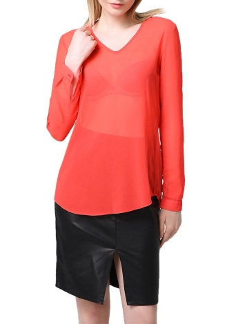Solid Sheer V Neck Rolled Sleeve Ruched Asymmetric Hem Chiffon Blouse