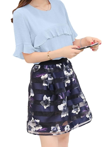 Мода Ruffles Flare рукавом шифон верхней сетки цветок печати юбки Twinset платье