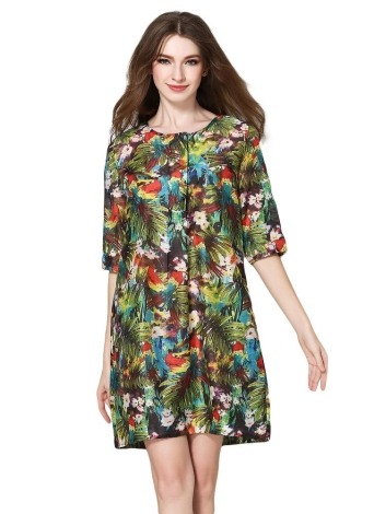 Vintage Flower Print O-Neck Half Sleeve Button Pocket Summer Dress
