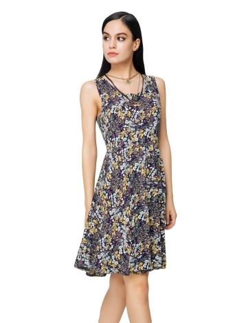 New Fashion Dress Mulheres Floral Imprimir Color Block em torno do pescoço sem mangas Mini Vintage One Piece-Amarelo