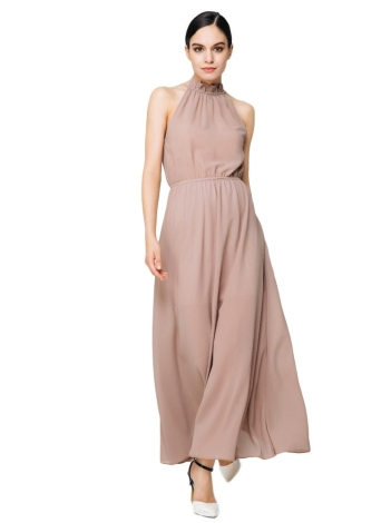 Elegant Turtle Neck Solid Color Hollow Out Chiffon Maxi Dress