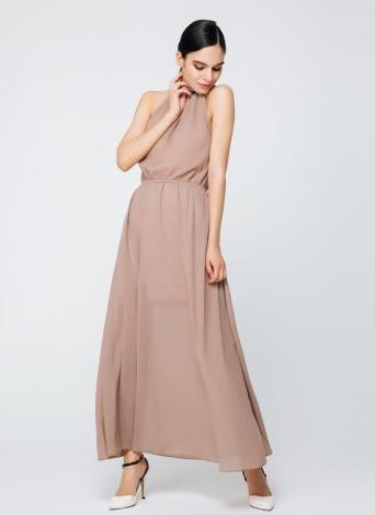 New Sexy Femmes Robe en mousseline de soie à col roulé Solide Couleur évider en vrac Casual Elégant Coffee Dress