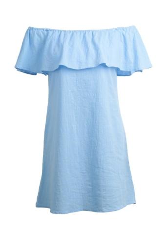 Chic Off  Shoulder Ruffle Top Sleeveless A-Line Mini Casual Blue Shift Dress