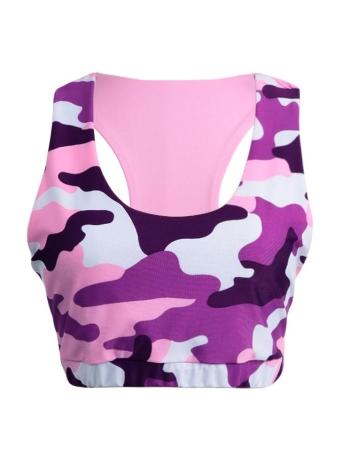 Novas Mulheres Sexy Cortar Top Vest Camo impressão Backless O-Neck aptidão Casual Outdoor Yogo Gym Sports T preto / rosa