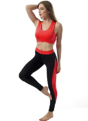 Мода Женщины Two-Piece Set выдалбливают Racerback O-Шея эластичный пояс Обрезанные Top Тонкий брюки зеленый / Роза / Красный