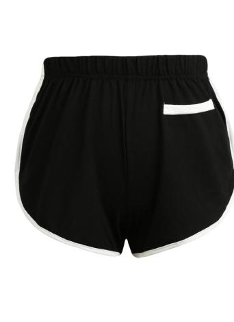 Женские контрастные поддельные карманы эластичные талии Спортивные шорты