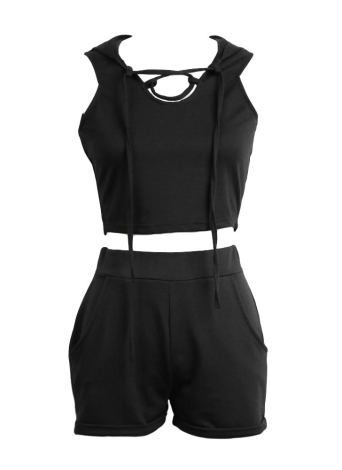Strecth Wasitband Casual Two Piece Set