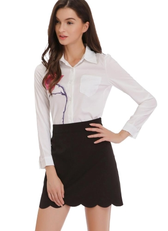 Elegante Saia de Scallop Hem Slim Lady Work