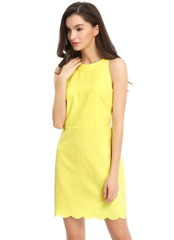 Nova Moda Vestido Mulheres oco Out Vieira Hem Voltar Zipper Botão Encerramento em torno do pescoço frio ombro mini vestido amarelo