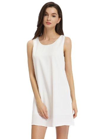 Robe en mousseline de soie nouvelle mode des femmes sans manches Solid Color Party Bow Mini Hétéro Summer Dress Casual Sundress Blanc