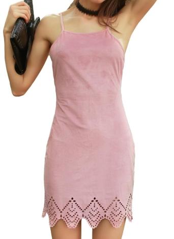 Laço Strap New Mulheres Suede Spaghetti Strap Vestido Entrecruzamento Voltar Auto Lacer Cut Hem Sexy Mini vestido rosa
