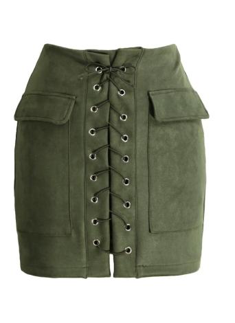 Minifalda de talle alto con cintura alta de encaje