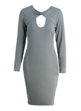 Sexy Cut Out V Neck Long Sleeve Bodycon Midi Dress