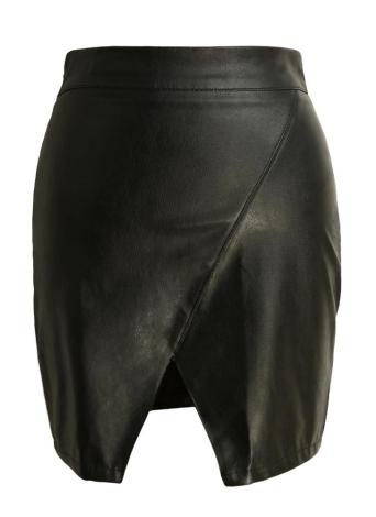 Neuer reizvoller Frauen PU-Leder-Rock Bodycon Split Solid Color hohe Taillen-Kurzschluss-Minirock fester Rock Schwarz