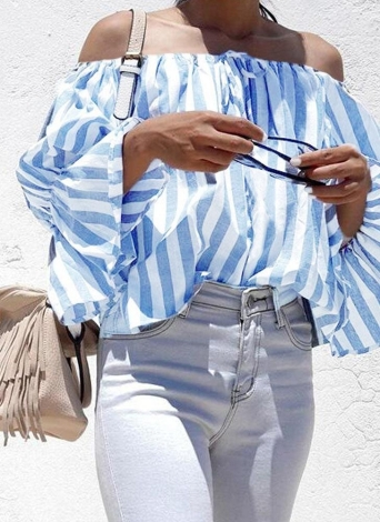 Sexy Striped Off Shoulder Long Sleeves Slash Neck Blusa feminina