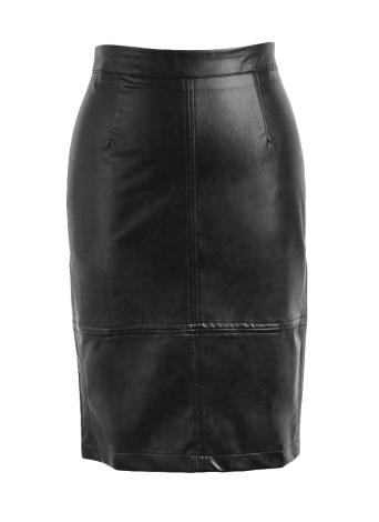 5b74ca6dc4 black l PU Press Stud Zipper Slit Back High Waist Bodycon Midi Skirt ...