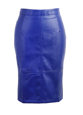 PU Press Stud Zipper Slit Back High Waist  Bodycon Midi Skirt