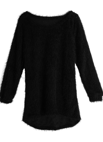 5eb3818ac85f Nouveau Femmes Fluffy Pull O-Neck ourlet plongeant Manches longues Casual  pull chaud Tops