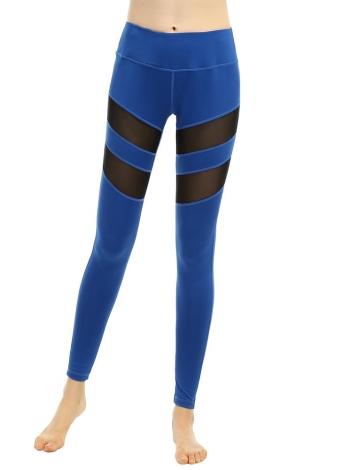 Las nuevas mujeres del deporte de las polainas de Yoga sólido de malla de empalme de cintura alta aptitud Running medias del estiramiento de los pantalones largos negros