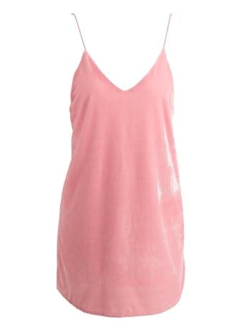 Le nuove donne velluto dalla cinghia di spaghetti Immergendo V-Neck Backless con laccetti Strap Curve Hem sexy del mini vestito rosa / marrone